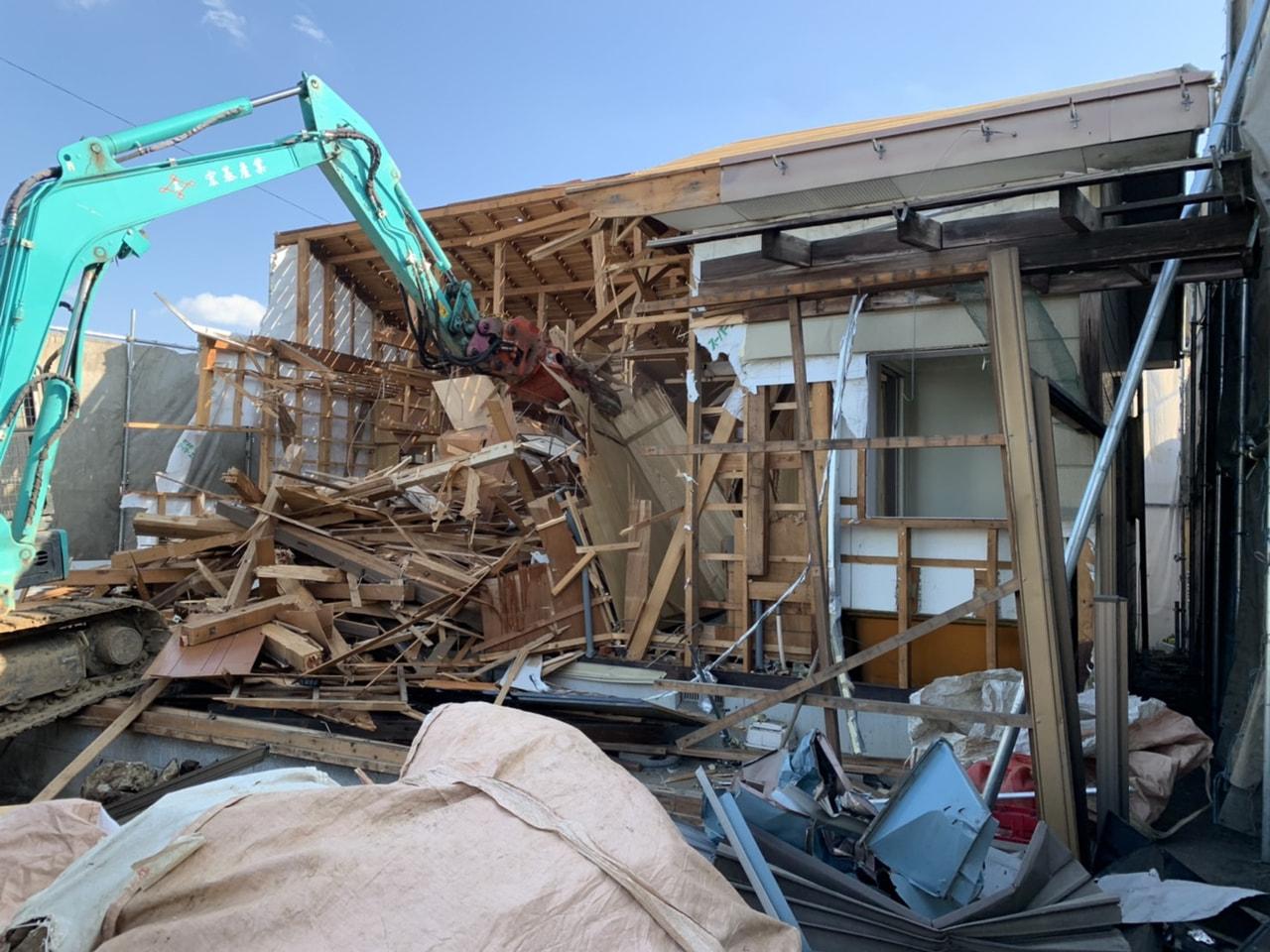 我孫子市 木造平屋建解体工事 解体中